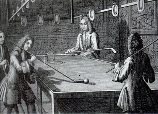 18-billiards-history-Louis XIV 1638-1715 playing billiards 2