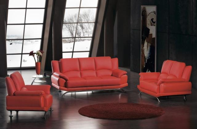 Contemporary-red-leather-sofa-set